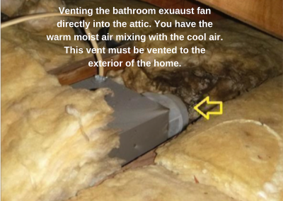 Venting the bathroom exhaust fan directly into the attic. You have the warm moist air mixing with the cool air. This vent must be vented to the exterior of the home.